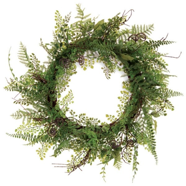 Pack of 2 Decorative Artificial Fern Wreath Unlit 22""