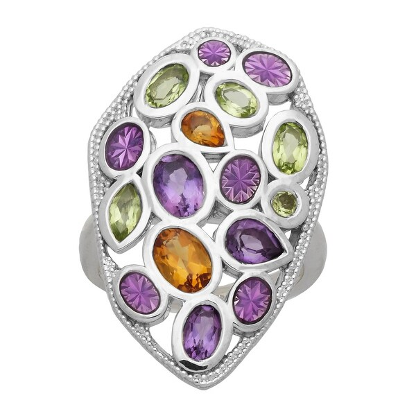 2 1/2 ct Natural Peridot, Citrine & Amethyst Mosaic Ring in Sterling Silver - Purple