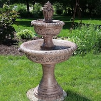 Sunnydaze Floral Tiered Solar on Demand Water Fountain 40 Inch Tall
