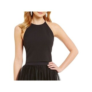 Belle Badgley Mischka Womens Nora Crop Top Crepe Sleeveless