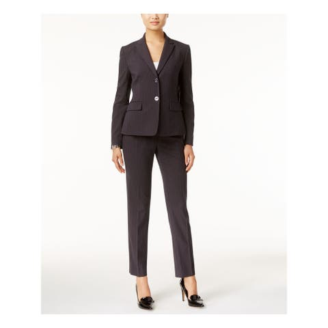TAHARI Womens Gray Pinstripe Suit Wear to Work Jacket Size 4