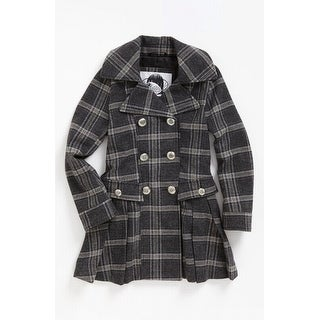 Sugarfly NEW Gray Size Large L Junior Plaid Pleated Wool Jacket