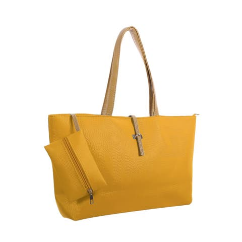 Women Contrast Color Detail Textured Faux Leather Tote w Pouch