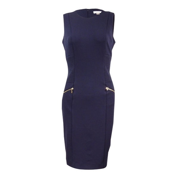 c737b78c Shop Calvin Klein Women's Stitched-Sides Crepe Sheath Dress - Twilight -  Free Shipping Today - Overstock - 20551784
