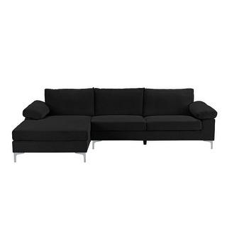 Link to Velvet Upholstered L-Shape Sectional Sofa Similar Items in Living Room Furniture