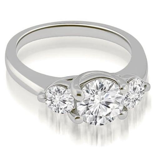 1.50 cttw. 14K White Gold Low Set Trellis 3-Stone Round Diamond Engagement Ring