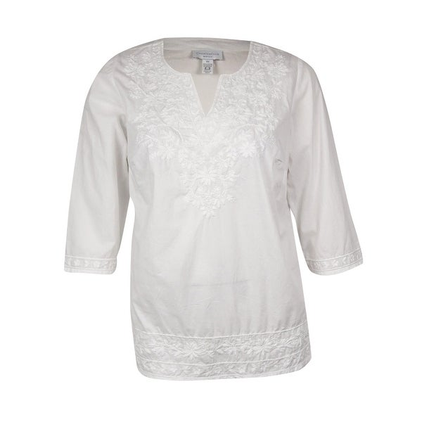 Charter Club Women's Embroidered Cotton Tunic