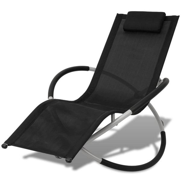 vidaXL Outdoor Geometrical Sun Lounger Steel Black and Gray