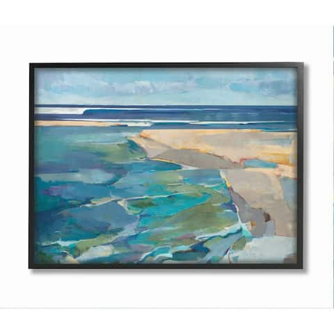 Stupell Industries Abstract Beach Landscape Pastel Cubism Painting Framed Wall Art - Blue