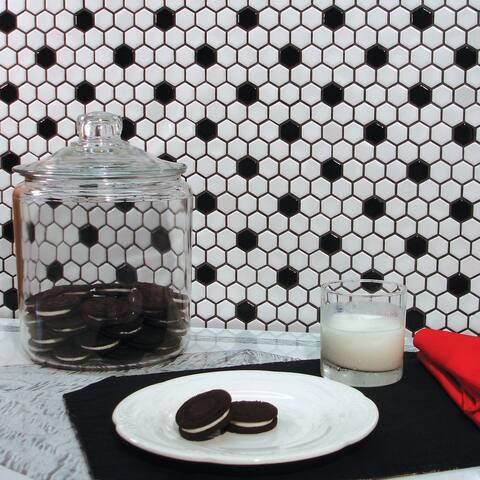 """SomerTile Metro Hex Glossy White with Black Dot 10.25""""x11.88"""" Porcelain Mosaic Floor and Wall Tile"""