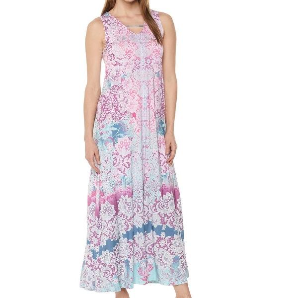 One World Purple Pink Women\'s Size 1X Plus Crochet Back Maxi Dress