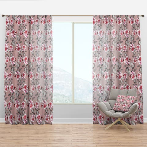 Designart 'Red Rose in Pink' Floral Curtain Panel