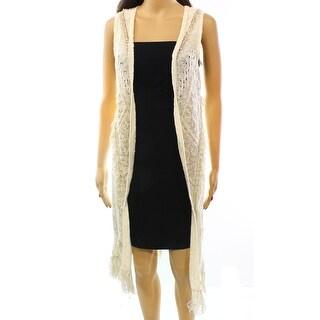 INC NEW White Ivory Natural Women's Size Small S Fringe Vest Sweater