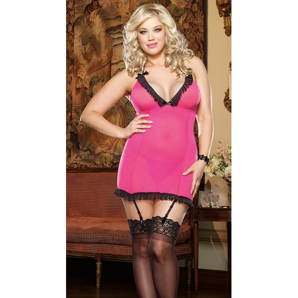 Shop Plus Size Flirty Thrills Garter Chemise Set - FUCHSIA - Queen - Free  Shipping On Orders Over  45 - Overstock.com - 25626420 c243ce599