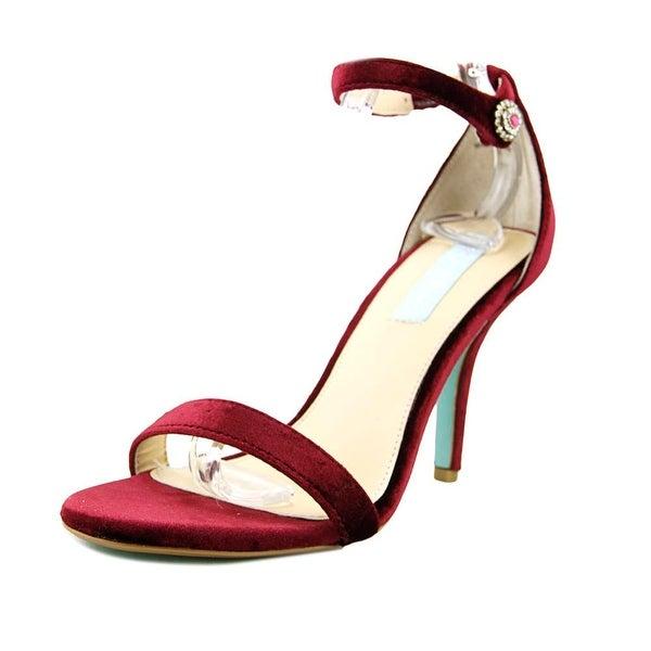 Betsey Johnson Nolte Women Open Toe Canvas Burgundy Sandals