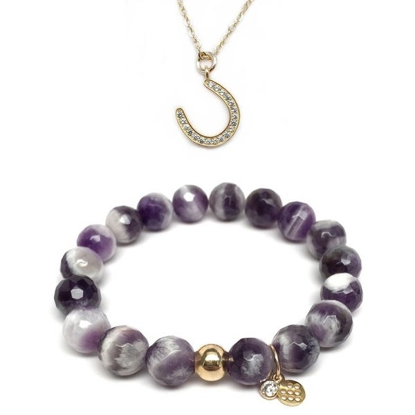 Purple Amethyst Bracelet & CZ Horseshoe Gold Charm Necklace Set
