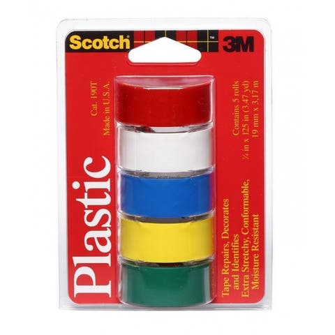 """Scotch 190T Colored Plastic Tape, Assorted, 3/4"""" x 125"""", 5 Pack"""