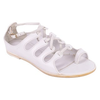 Givenchy Womens White Leather Lace Up Toe Ring Sandals