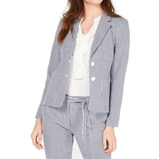 Link to Nine West Women's Blazer Blue Size 8 Button Down Gingham Notch Collar Similar Items in Suits & Suit Separates