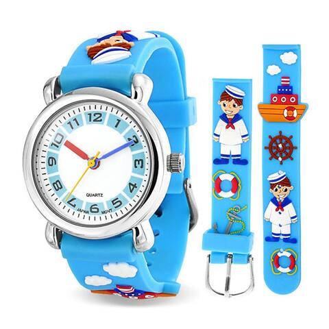 Nautical Sailor Boater Waterproof Wrist Watch Time Teacher Quartz 3D Cartoon Blue Silicone Wristband Round White Dial