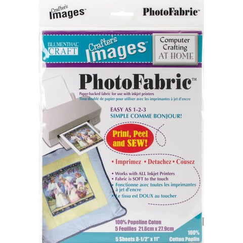 "Crafter's Images Photofabric 8.5""X11"" 5/Pkg-100% Cotton Poplin"