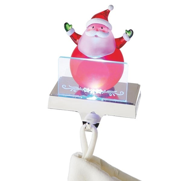 "6.75"" LED Lighted Color Changing Frosted Santa Claus Christmas Stocking Holder for Personalization"