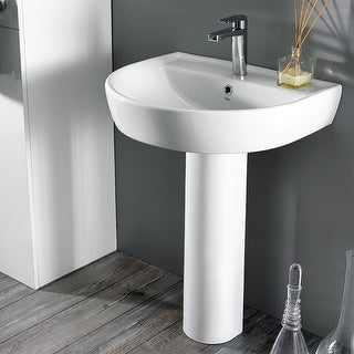 "Nameeks 007800U-PED  Cerastyle 23-2/3"" Ceramic Pedestal Bathroom Sink - White / One Hole"
