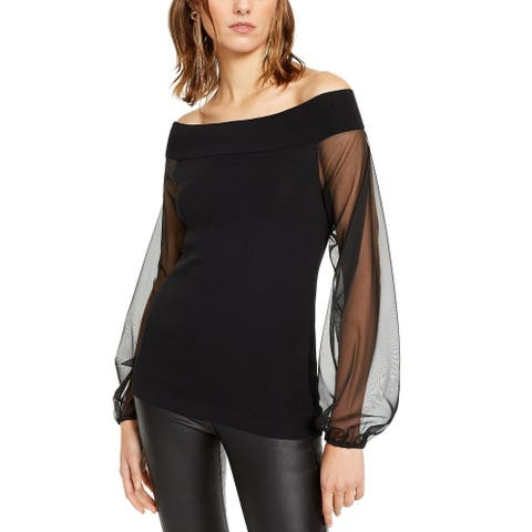 INC International Concepts Women's Off-The-Shoulder Sheer-Sleeve Sweater Black Size Large