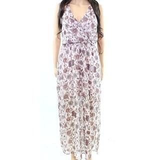 Lush NEW Pink Womens Size Medium M Floral-Print Surplice Maxi Dress