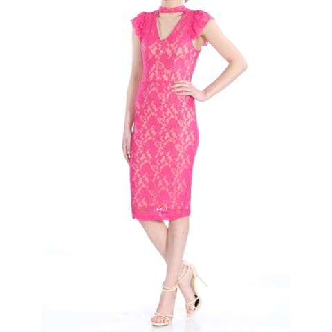 XOXO Womens Pink Lace Cap Sleeve V Neck Below The Knee Body Con Cocktail Dress Juniors Size: XL