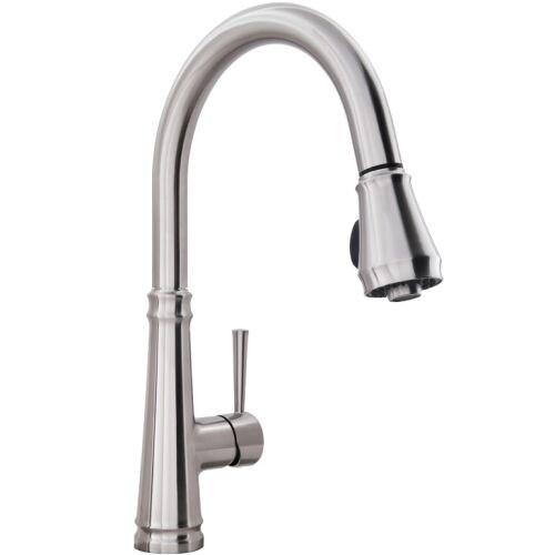 Miseno MK331 Lovato Pull-Down Spray High-Arc Kitchen Faucet - Includes Escutcheon Plate