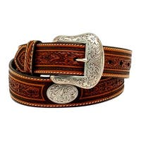 Nocona Western Belt Mens Pro Series Oval Conchos Floral Tan