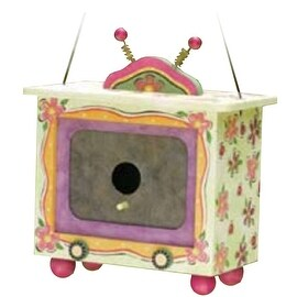 Floral-Painted Wooden Birdhouse