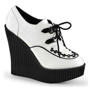 Demonia Women's Creeper 302 Wedge Oxford White/Black Vegan Leather