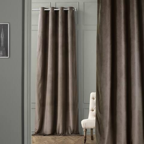 "Exclusive Fabrics Signature Velvet Grommet 84"" Blackout Curtain Panel"