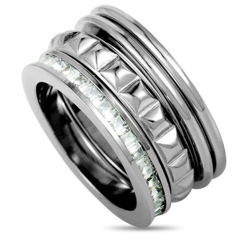 Calvin Klein Astound Stainless Steel and White Cubic Zirconia Ring Set Size 5