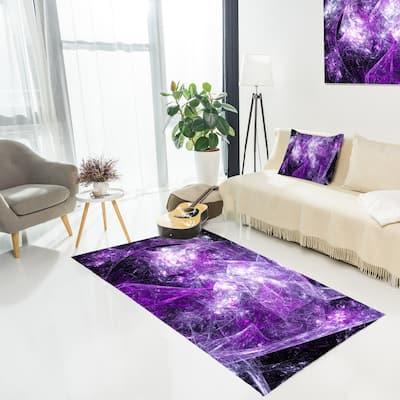 Designart 'Mystic Purple Fractal' Abstract Area Rug