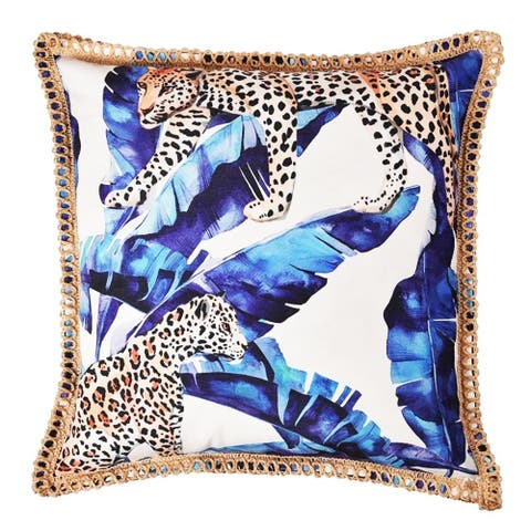 Royal Bengal Tiger In Tropical Print Indoor/Outdoor Decorative Throw Pillowcase For Porch Sofa or Couch