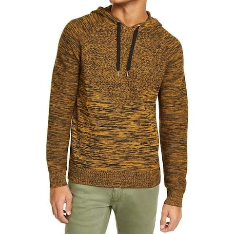 INC Mens Sweater Black Gold Size XS Space Dye Marled Ribbed Knit Hooded