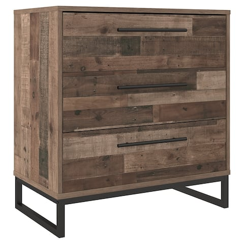 3 Drawer Wooden Chest with Metal Legs, Brown and Black