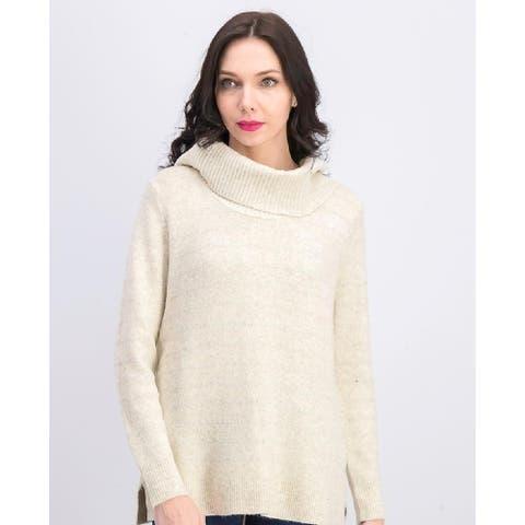 Style & Co Women's Lurex Cowl-Neck Sweater Beige Size Medium