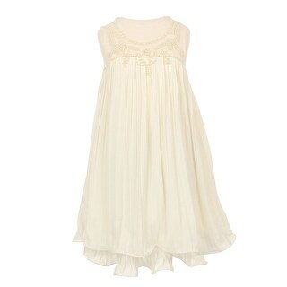 Girls Ivory Pearl Beaded Wire Hem Pleated Special Occasion Dress 8-14