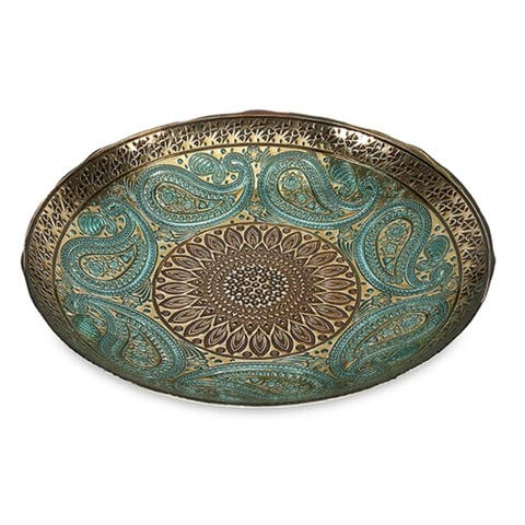 "16"" Elegant Peacock Blue and Gold Paisley Design Glass Bowl"