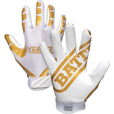 Battle Sports Science Receivers Ultra-Stick Football Gloves - Gold/White