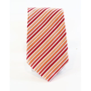 Geoffrey Beene NEW Red Orange Men's Striped Silk Blends Neck Tie