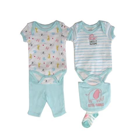 Weeplay Baby Girls Blue Turtle-Y Awesome Bodysuit Pant Bib Socks 5 Pc Set