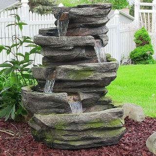 Sunnydaze Lighted Cobblestone Waterfall Fountain with LED Lights - 31 Inch Tall