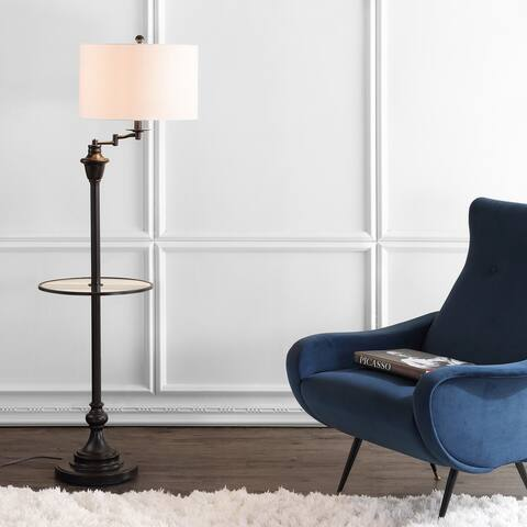 "Cora 60"" Metal/Glass LED Side Table and Floor Lamp,ORB by JONATHAN Y - 60"" H x 16"" W x 16"" D"