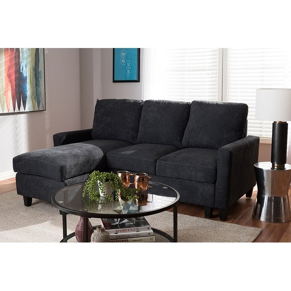 Shop Grayson Dark Grey Fabric Upholstered Sectional Sofa W