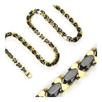 Stainless Steel Plated Gold and Black Square Necklace (10 mm) - 24 in